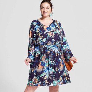 Ava & Viv Long Sleeve Floral Dress Size 3X